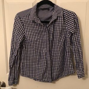 Top Shop Blue and White Checkered Button Up Shirt